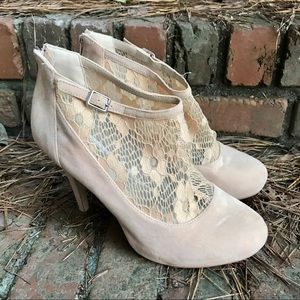 [Bamboo] Nude Suede Floral Lace Buckle Heels